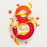 March 8 international womens day. Vector greeting card.