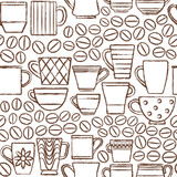 Hand drawn cups and mugs with coffee beans seamless pattern background 2 - 135706751