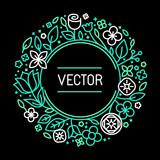 Vector vintage frame in trendy linear frame