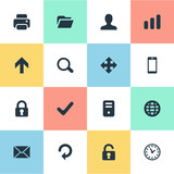 Set Of 16 Simple Application Icons. Can Be Found Such Elements As Computer Case, Message, Smartphone And Other.