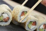 sushi fish avocado cheese sesame
