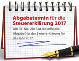 Vermerk: Abgabetermin Steuererklärung 2017