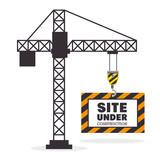 site under construction scene with cranes vector illustration design