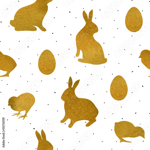 Materiał do szycia Seamless pattern with gold textured chicks, rabbits and eggs. Background for Easter greeting card or holiday decor, wrapping, scrapbook, decals.