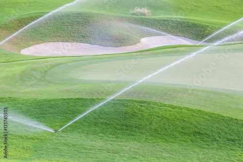 Fotobehang Olijf Sprinklers watering system working in green golf course.