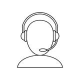 avatar headset service call center talk thin line vector illustration eps 10