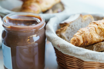 chocolate paste with fresh bread