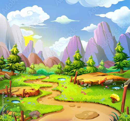 Fototapeta The Fairy Land. Video Game's Digital CG Artwork, Concept Illustration, Realistic Cartoon Style Background