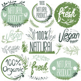 Natural organic labels. Organic food stickers and elements. - 135778556