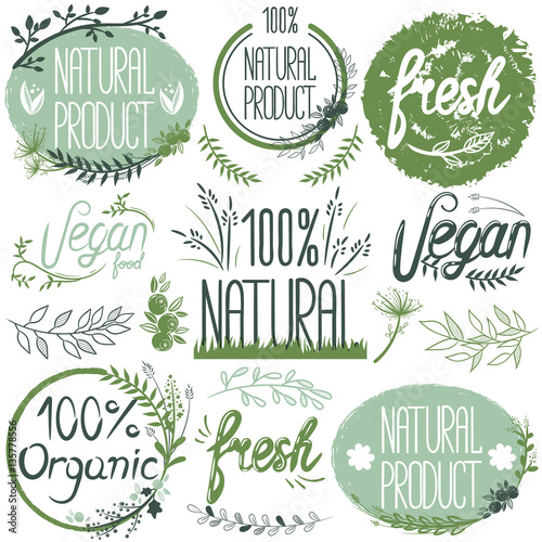 Natural organic labels. Organic food stickers and elements.