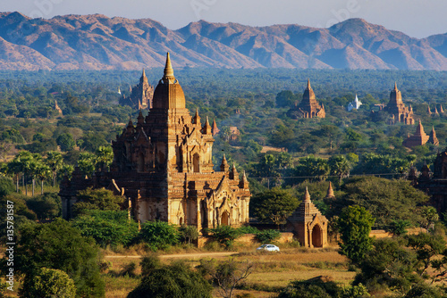 Ancient pagodas in Bagan with altitude balloon Myanmar Poster