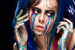 Bodyart model girl portrait with colorful paint make up. Sexy woman bright color makeup. Closeup of vogue style lady face, Art design. Black background