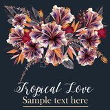 Beautifulvector illustration or brochure with tropical flowers