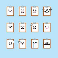 Smile Emoji Emoticon Face In Clipboard  A Lot Of Variation Sticker