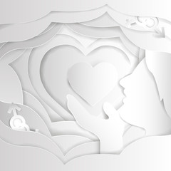 Heart from paper. Valentines day card