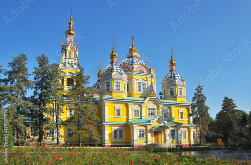 The Ascension Cathedral also known as Zenkov Cathedral,  in Almaty, Kazakhstan Poster