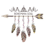 Hand drawn boho style design with arrow and feathers.