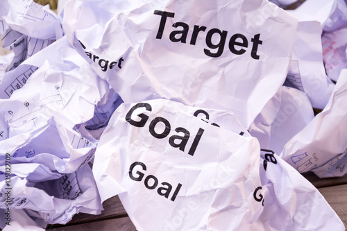 Goal or target paper garbage close up background