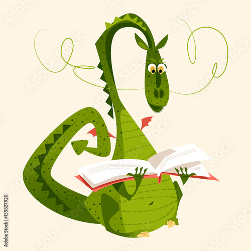 Dragon sitting and reading a book. Diada de Sant Jordi (the Saint George's Day). Traditional festival in Catalonia, Spain.