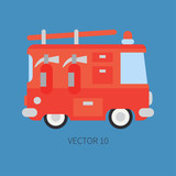 Plain flat vector color icon fire truck. Emergency assistance vehicle. Cartoon style. Fireman. Maintenance. Rescue. Fire department. Extinguisher. Siren. Road. Illustration and element for your design