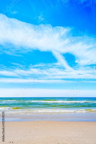 Beautiful sea waves on Debki beach, Baltic Sea, Poland - 135834570