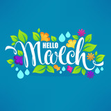 Hello March, vector banner design template with images of green