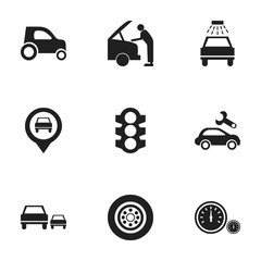 Set Of 9 Editable Traffic Icons. Includes Symbols Such As Speedometer, Race, Pointer And More. Can Be Used For Web, Mobile, UI And Infographic Design.