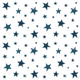 Textured stars background, pattern, wallpaper. Grunge space halftone texture. Blue galaxy star set. Hand drawn vector illustration