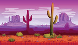 Horizontal seamless background of landscape with desert and cactus