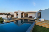 Modern house with garden swimming pool and wooden deck - 135860130