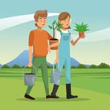 gardeners couple plant pot water can landscape vector illustration eps 10