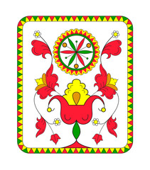 Russian decoration pattern on red, green, yellow colors in white