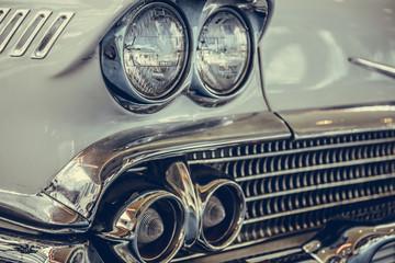 Headlight lamp of retro classic car vintage style