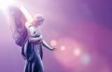 Angel in heaven over purple sky background - 135896130