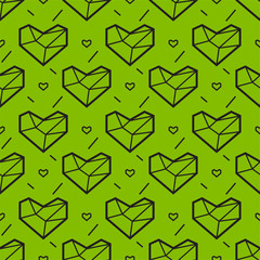 Seamless pattern with heart. Geometry style. Greenery color