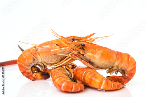 Poster Grilled shrimp isolated on white background