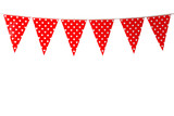 Red bunting party flag with heart pattern isolated on white