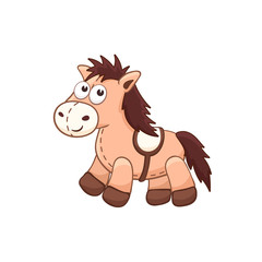 Cute cartoon animal. Stuffed horse. Vector plush toy isolated on white background.