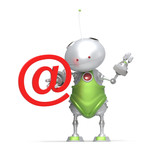 Robot with email @ sign, white Isolated