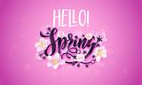 Hello spring flower cherry blossom vector poster