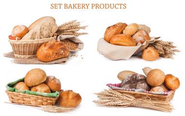 Set bakery products isolated