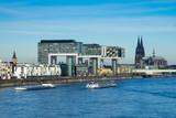 Köln: Kölner Dom mit Kranhäusern und Rhein - 135923775