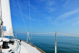 Sailing on Lake Constance on a calm sunny day