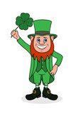 Cheerful leprechaun with clover vector illustration.