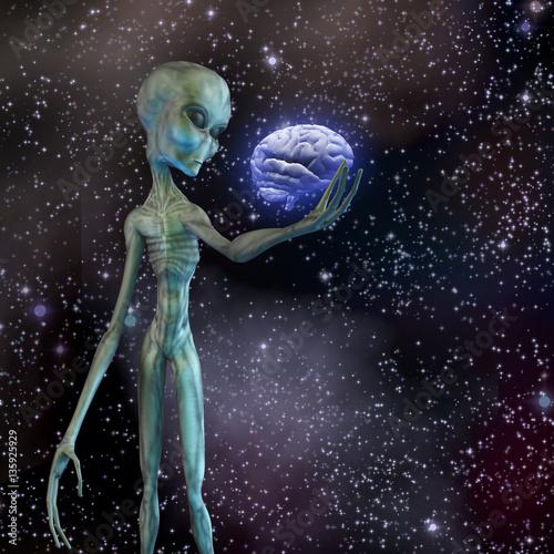 Poster Alien ponders human brain