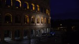 Night view video of Colosseum in Rome, Italy, selective focus