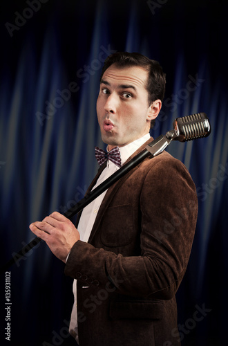 Showman with a microphone Poster