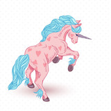 vector illustration of pink unicorn with hearts