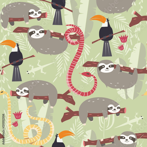 Materiał do szycia Seamless pattern with cute rain forest animals, toucan, snake, sloth