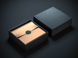 Two Black Boxes with Copper Gold wrapping paper and black circle label sticker. Horizontal, 3d rendering